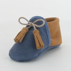 Chausson bébé souple en toile et cuir - Bleu