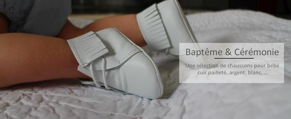 Une collection de chaussons bébé pour les Baptêmes et les Cérémonies, fabriqué en France.