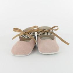 Chausson bébé ballerine en cuir zèbre - Rose