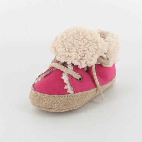 Chausson bébé basket fourré - Fuchsia