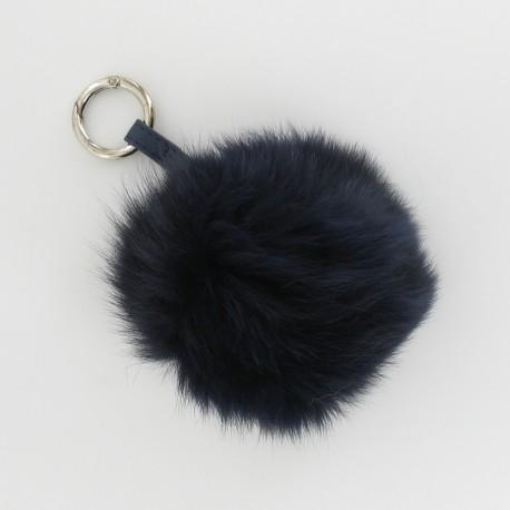 Porte-clés pompon fourrure - Marine