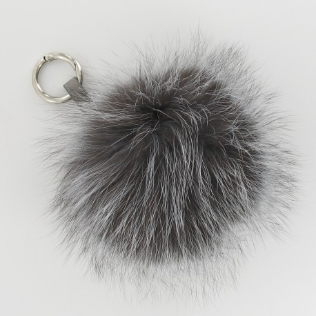 Porte-clés pompon fourrure - Gris argenté