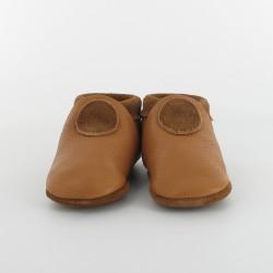 Chausson bébé souple cuir bio applique rond - Camel