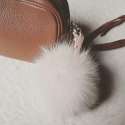 Porte-clés pompon fourrure - Rose