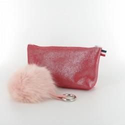Coffret de Noel - trousse et porte-clés - pailleté rouge