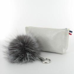 Coffret de Noel - trousse et porte-clés - pailleté blanc