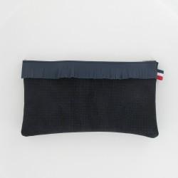 Pochette en cuir à franges pailleté - Marine