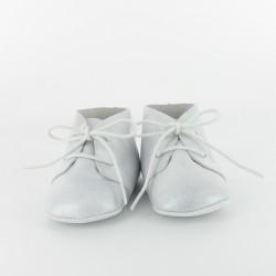 Chausson bébé en cuir nacré classique - gris
