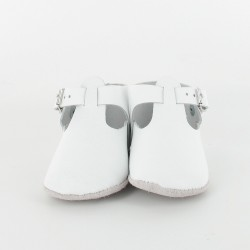 Chausson bébé cuir salomé avec boucle - Blanc
