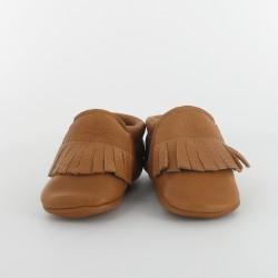 Chausson bébé souple cuir bio applique frange - Camel