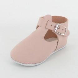 Chausson bébé cuir salomé avec boucle - BlancChausson bébé cuir salomé avec boucle - Rose