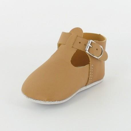 Chausson bébé cuir salomé avec boucle - Camel