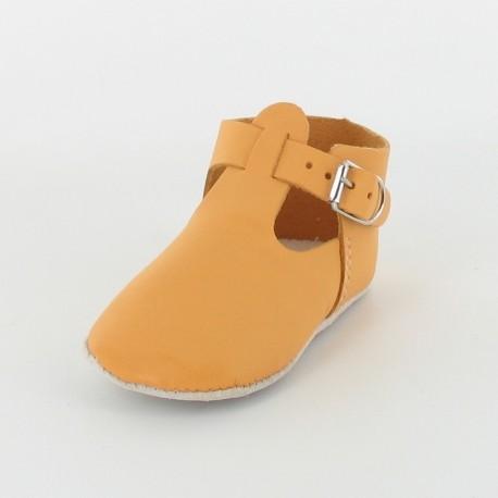 Chausson bébé cuir salomé avec boucle - Orange
