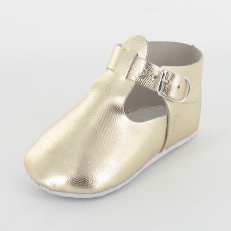 Chausson bébé cuir salomé avec boucle - Gold