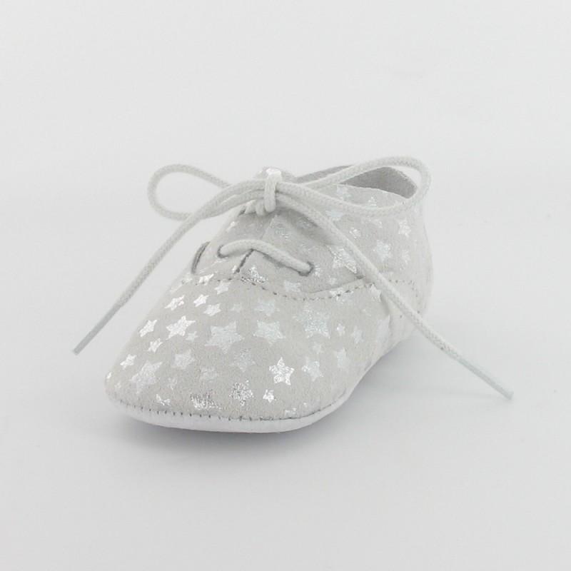 5394fe7756f6d Chausson bébé en cuir étoile - argent – Fabrication française