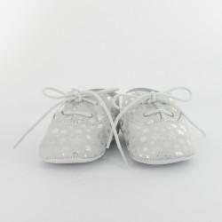 Chausson bébé cuir étoile - Argent