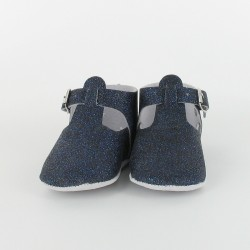 Chausson bébé paillette salomé avec boucle - Marine