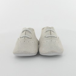 Chausson bébé cuir pailleté - Blanc