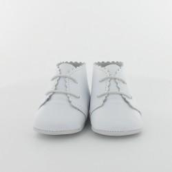 Chausson bébé en cuir lisse classique - Blanc