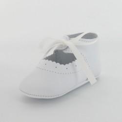 Chausson bébé ballerine en cuir lisse classique - Blanc
