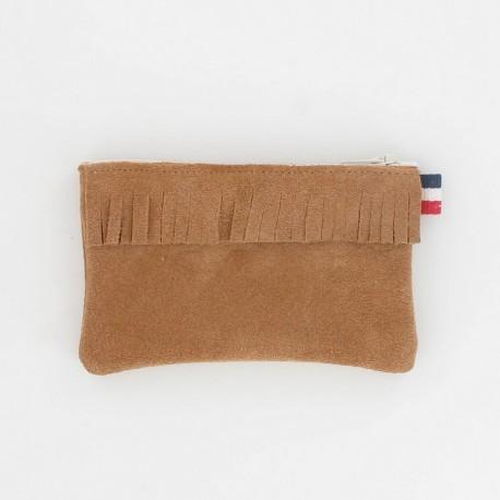 Porte-monnaie en cuir à frange - Camel