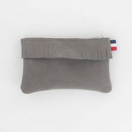 Porte-monnaie en cuir à frange - Gris