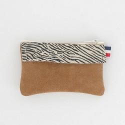 Porte-monnaie en cuir à frange - Zèbre Camel