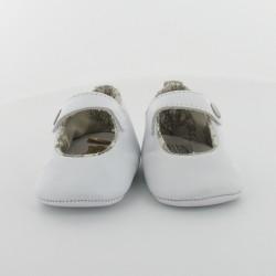 Chausson bébé ballerine cuir et toile de Jouy - Marquise