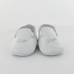 Chausson bébé en cuir élastiqué - Porcelaine