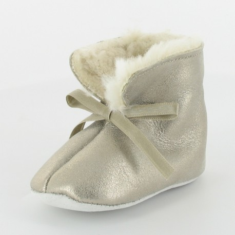 Chausson bébé cuir fourré - La Belle