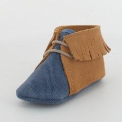 Chausson bébé toile et cuir à frange - Bleu