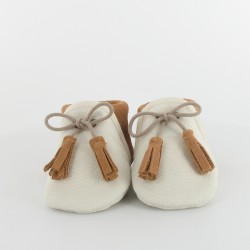 Chausson bébé souple en toile et cuir - Ecru