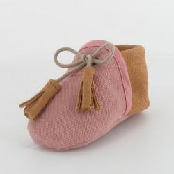 Chausson bébé souple en toile et cuir - Rose