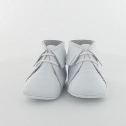 Chausson bébé cuir lisse à frange - Blanc