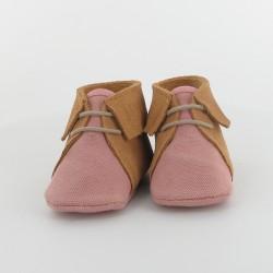 Chausson bébé toile et cuir à frange - Rose/Camel
