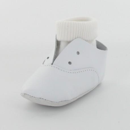Chausson bébé cuir lisse avec chaussette - Blanc