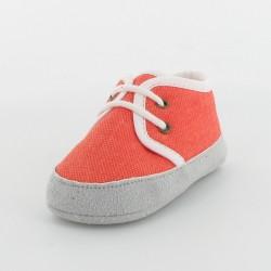 Chausson bébé tennis en toile - Orange/Blanc