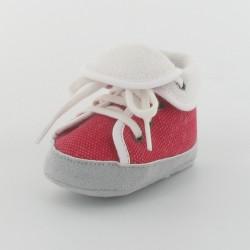 Chausson bébé basket en toile - Rouge/Blanc