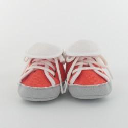 Chausson bébé basket en toile - Orange/Blanc