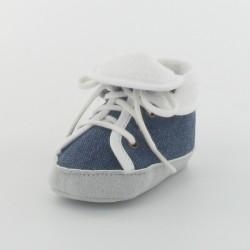 Chausson bébé basket en toile - Marine/Blanc