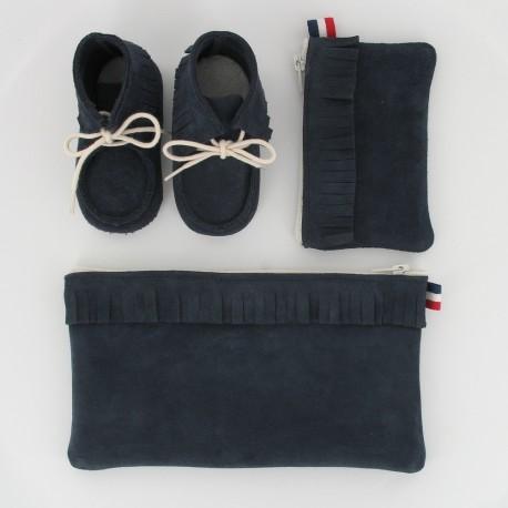 Coffret chausson, pochette et porte monnaie - Marine