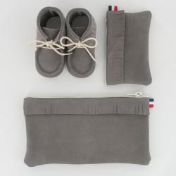 Coffret chausson, pochette et porte monnaie - Gris