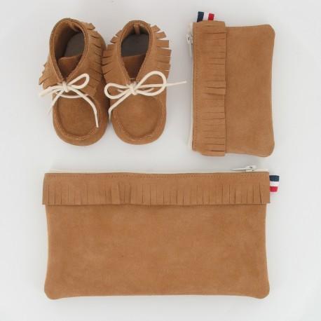 Coffret chausson, pochette et porte monnaie - Camel