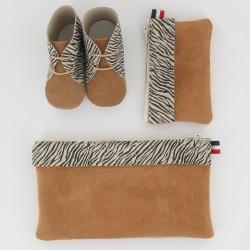 Coffret chausson, pochette et porte monnaie - Zèbre Camel