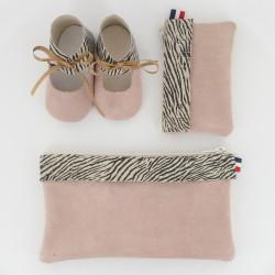 Coffret chausson, pochette et porte monnaie - Zèbre Rose