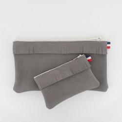 Coffret pochette et porte monnaie - Gris