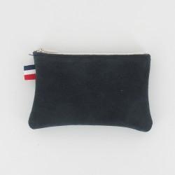 Porte-monnaie en cuir à frange - Marine