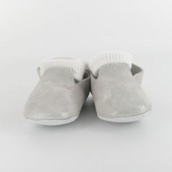 Chausson bébé cuir pailleté avec chaussette - Blanc