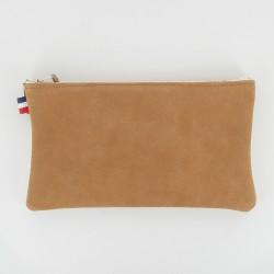 Pochette cuir et toile à frange - Camel/Ecru