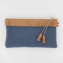 Pochette cuir et toile à frange - Camel/Bleu
